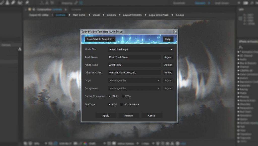 Auto Setup Script For SoundVisible Audio React Spectrum Music Visualizer After Effects Templates