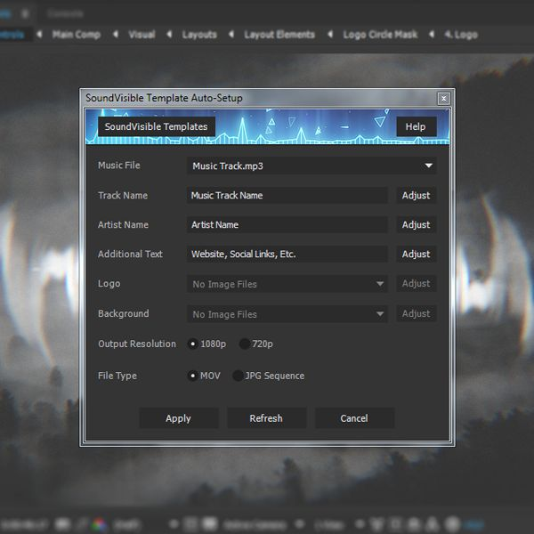 Auto-Setup Script for SoundVisible Audio React Spectrum Music Visualizer After Effects Templates